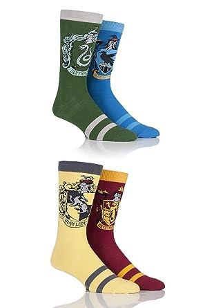 Mens 4 Paar Harry Potter Haus Abzeichen Socken Amazon De Bekleidung