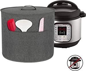 Homai Dust Cover for 8 Quart Instant Pot Pressure Cooker, Cloth Cover with Pockets for Holding Extra Accessories, Gray (Large)