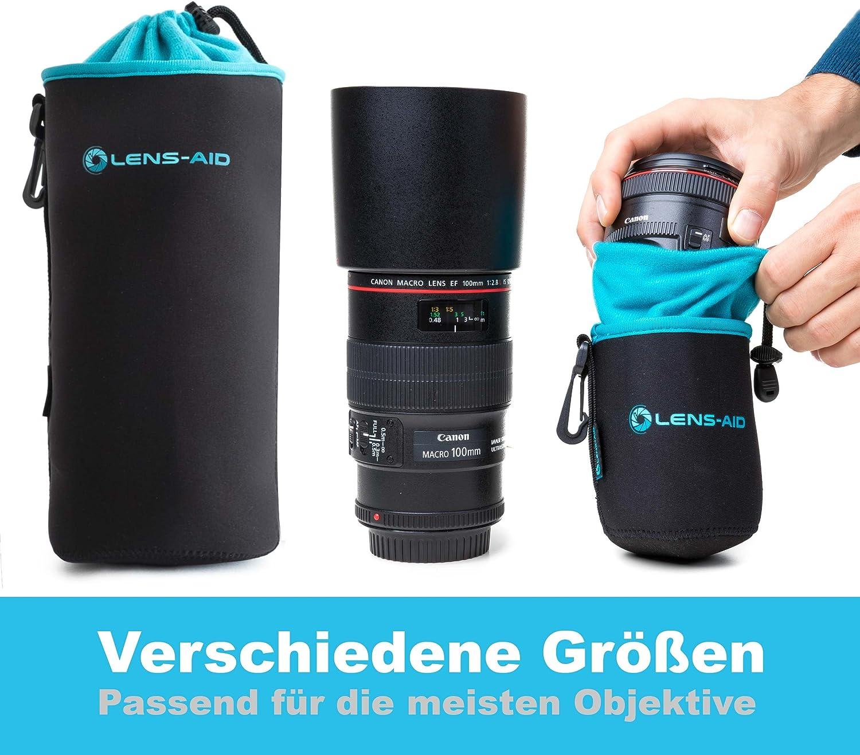 Lens-Aid Funda Protectora para Objetivo de Neopreno con Forro Polar XS,S,M,L,XL Bolsa Protectora para Lentes y Accesorios da Camera fotografica 5 Set