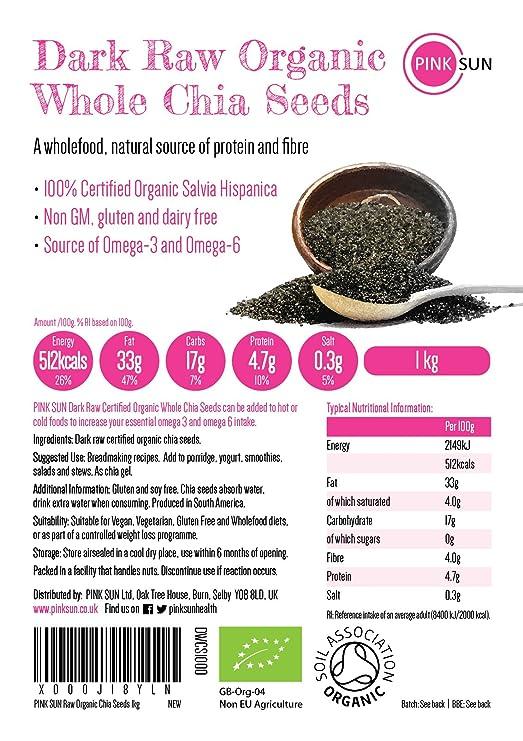 PINK SUN Semillas de Chia Orgánicos 1kg Crudas Ecologicas Bio Sin Gluten Bolsa Grande - Raw Organic Chia Seeds 1000g Bulk Buy: Amazon.es: Alimentación y ...