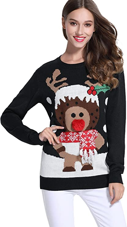 Women's Christmas Reindeer Themed Knitted Holiday Sweater Pullover Tacky Ugly Christmas Sweaters for women