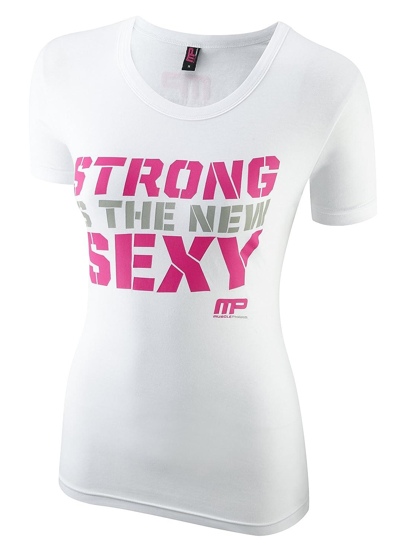 Musclepharm Women's 413 Crew Neck T-Shirt Black (Hot Pink/Black), Medium