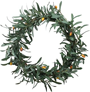 Duovlo 20u0027u0027 Artificial Olive Wreath Front Door Wreath Greenery Branches Hanging Decoration  sc 1 st  Amazon.com & Amazon.com: Mills Floral Tuscan Olive Wreath 24