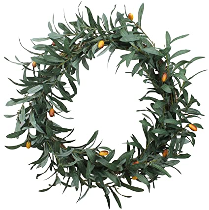 Duovlo 20u0027u0027 Artificial Olive Wreath Front Door Wreath Greenery Branches  Hanging Decoration