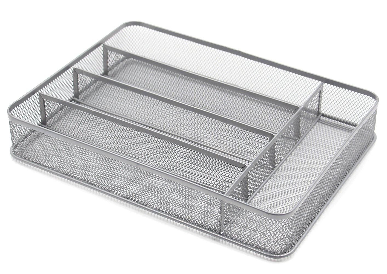ESYLIFE 5 Compartment Mesh Kitchen Cutlery Trays Silverware Storage Kitchen Utensil Flatware Tray, Silver