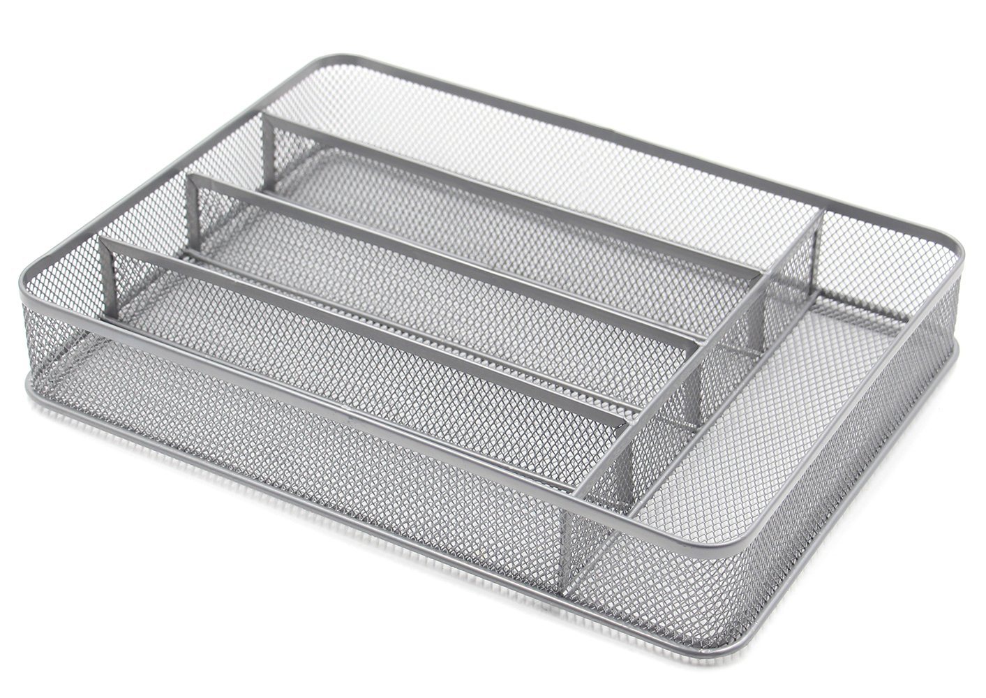 ESYLIFE 5 Compartment Mesh Kitchen Cutlery Trays Silverware Storage Kitchen Utensil Flatware Tray, Silver by Esy-Life (Image #1)