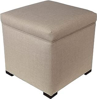 "product image for MJL Furniture Designs Mini Upholstered Lift Top Shoe Storage HJM Series Ottoman, Beige, 18.5"" x 19"" x 19"""