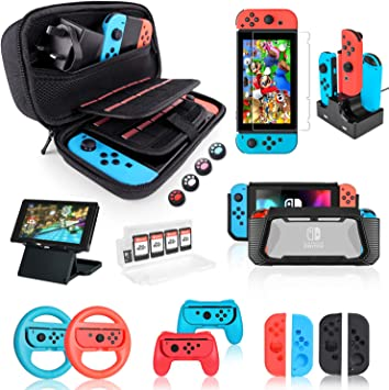 Nintendo Switch Accessories Bundle, Kit con funda de transporte ...