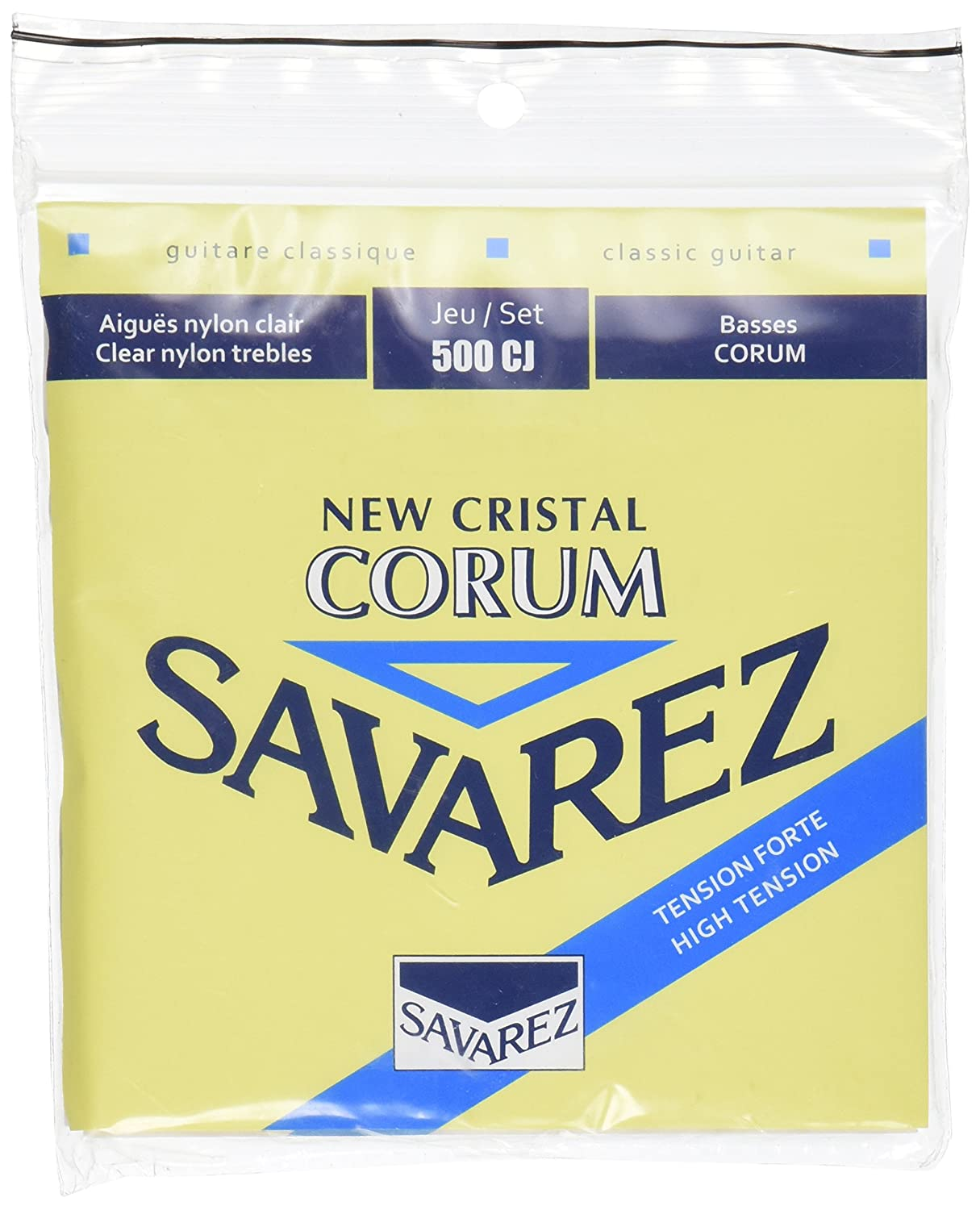 Savarez 500CJ Corum Cristal Classical Guitar Strings, High Tension, Blue Card Savarez Strings
