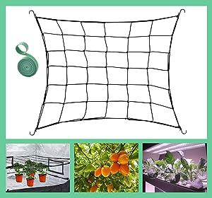 HEMYLU Flexible Trellis Netting for 3x3FT Grow Tent, Heavy Duty Garden Netting with 4 Hooks & 78 Inch Garden Ties for Grow Tents, Compatible with 2x2FT and 3x2FT Grow Tent for Plants