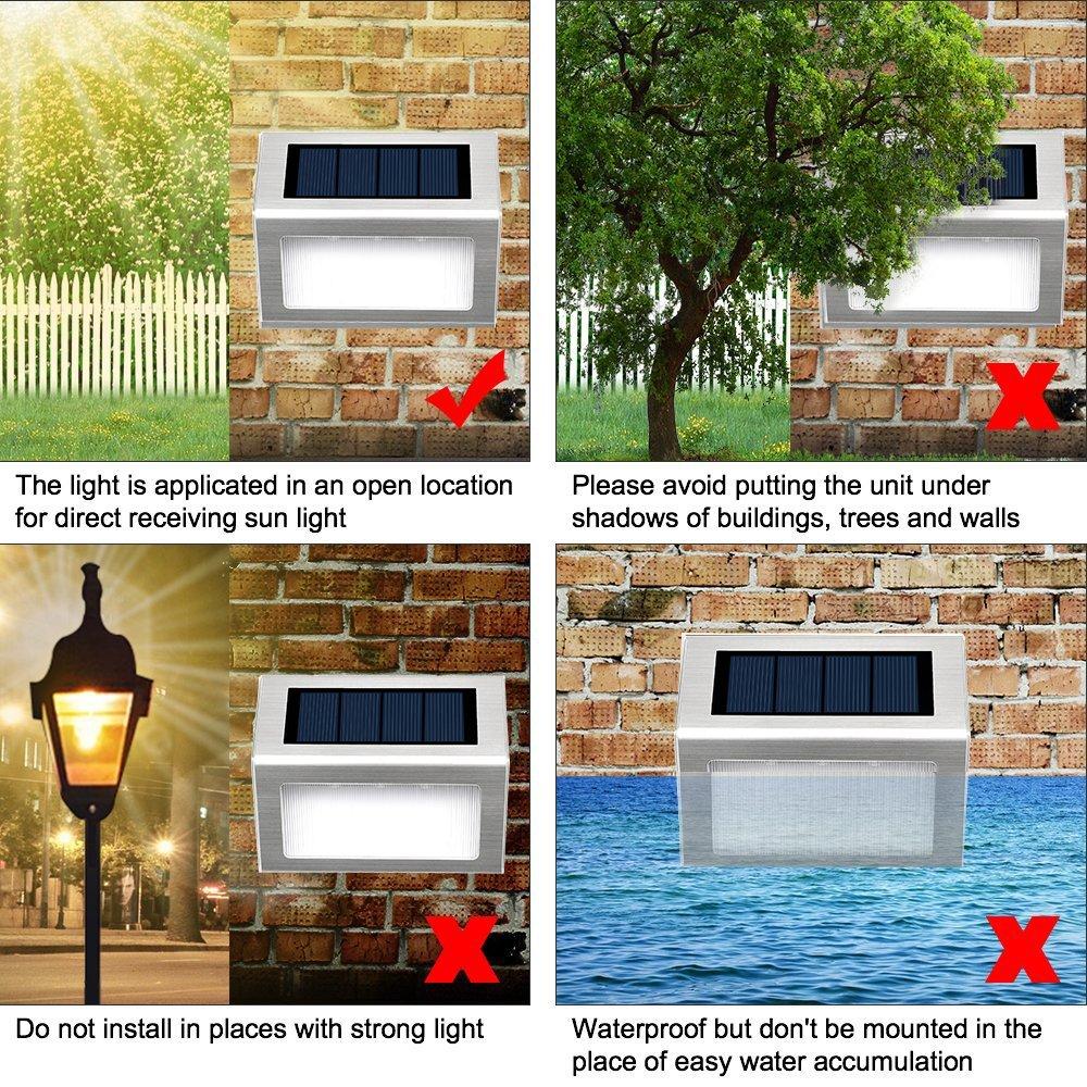 pared panel solar del acero inoxidable Utilizado para escaleras L/ámparas Solares impermeable jard/ín Iluminaci/ón exterior solar Luces Solares para Exterior Jard/ín 3 LED Easternstar patio