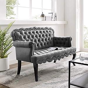 Modway Viola Tufted Velvet Modern Chesterfield Style Settee Loveseat In Gray