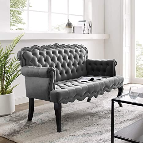 Modway Viola Tufted Velvet Modern Chesterfield Style Settee Loveseat In Gray