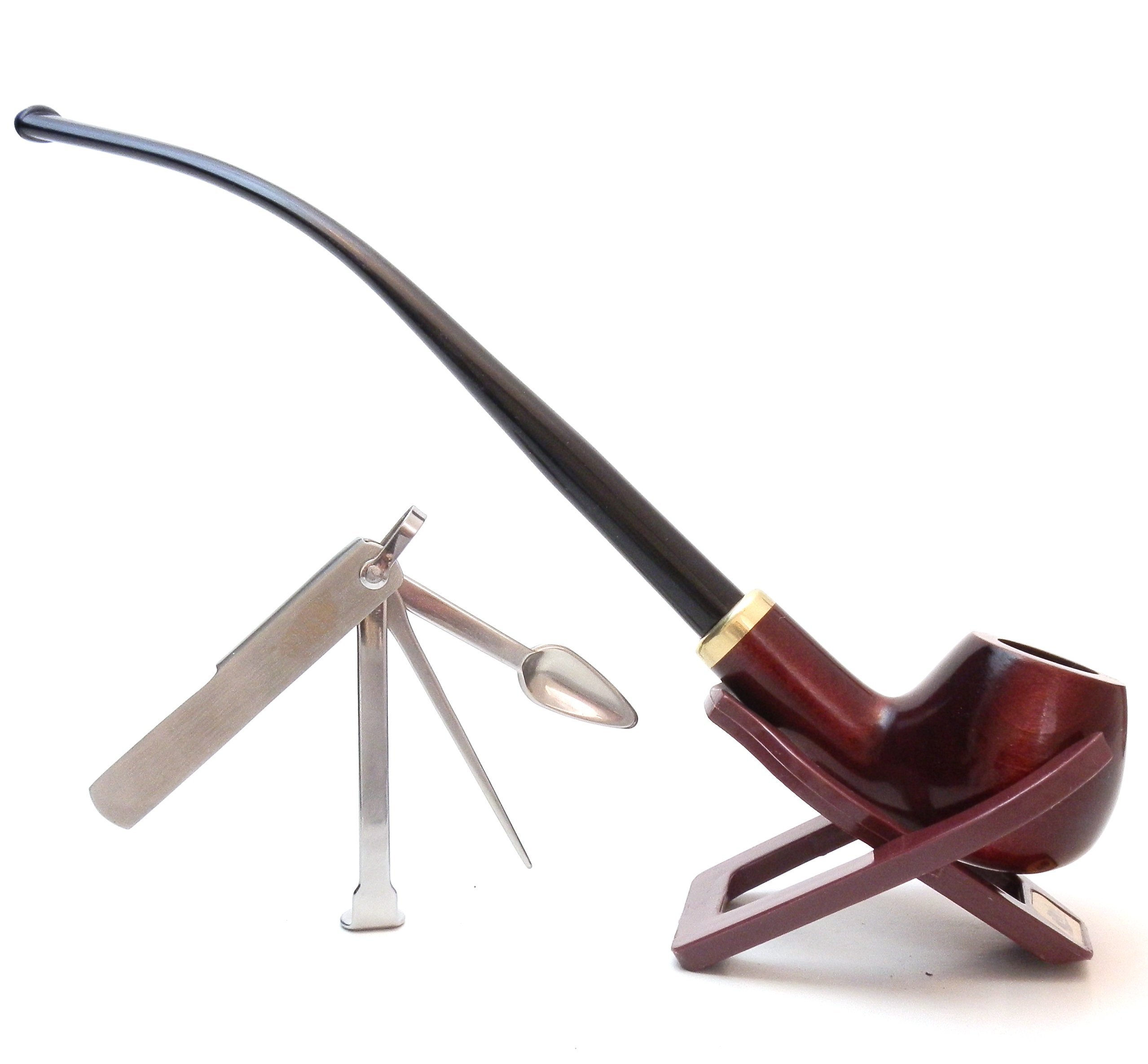 Churchwarden Tobacco Mahogany Pipe ''Set'' - With Stand & 3-in-1 Tamper Tool- Hand Made by