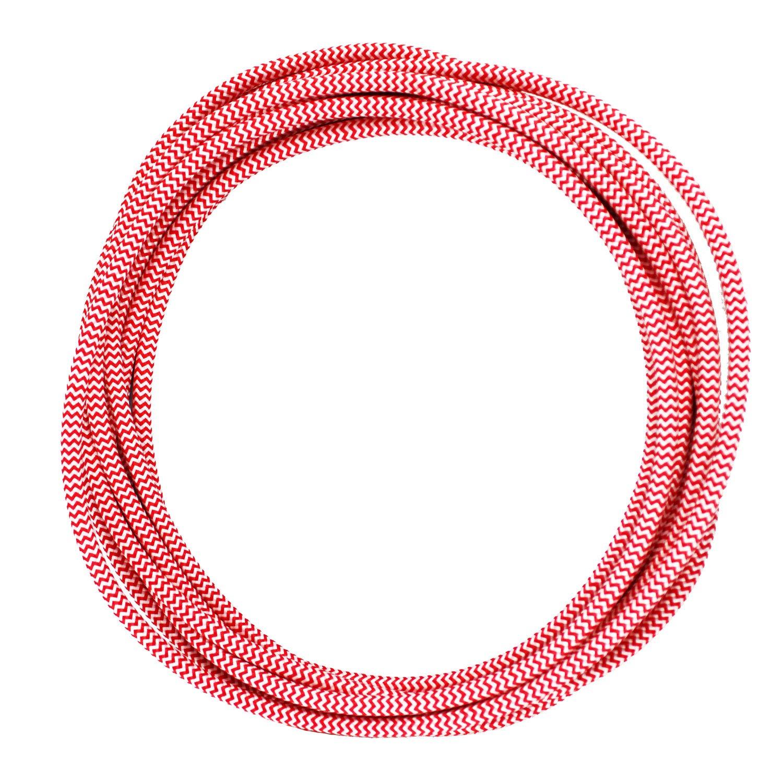 3 hilos Cable textil trenzado de 3 Metro - Cable de luz con revestimiento textil smartect Cable para l/ámparas de tela en color Blanco-Rojo 3 x 0,75 mm/²