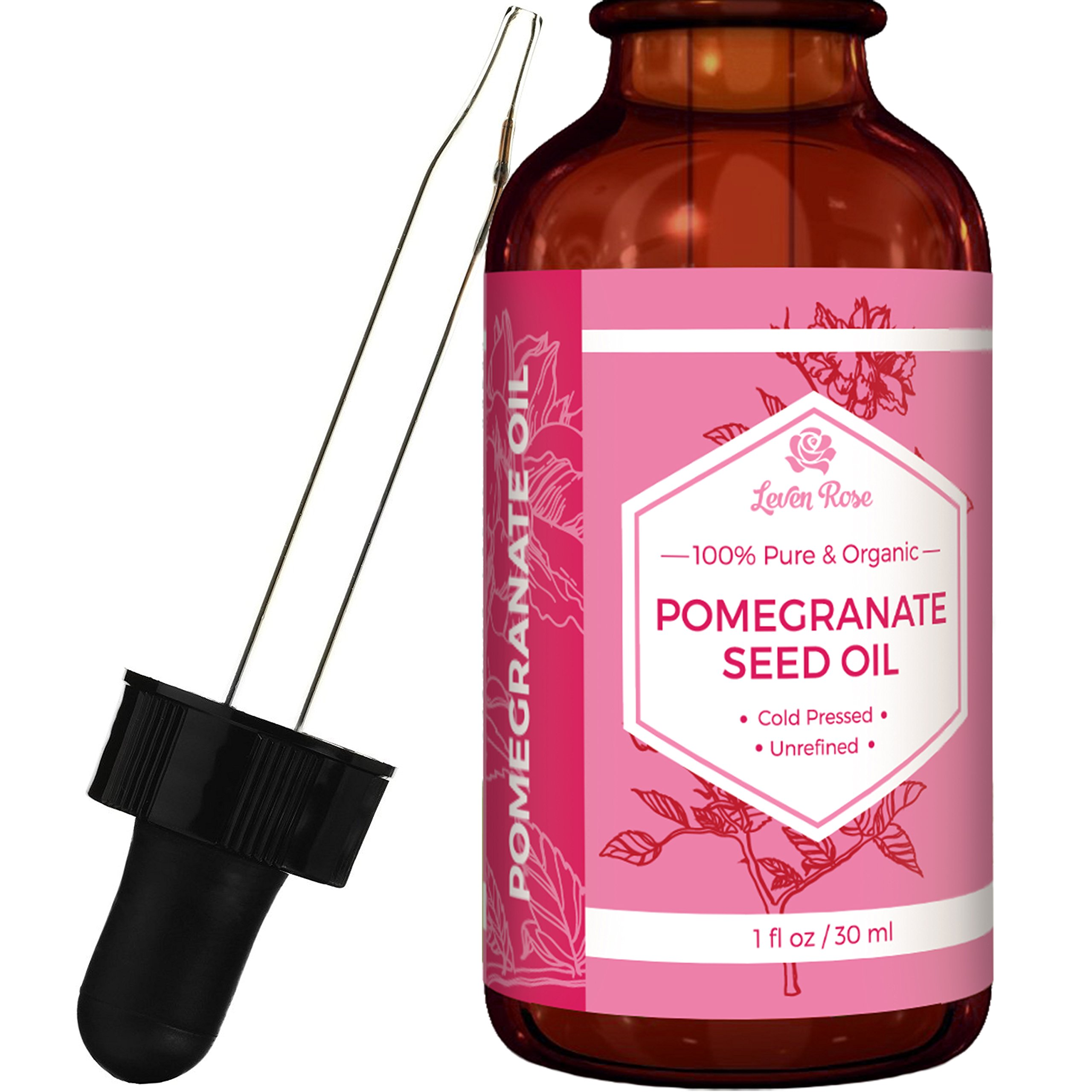 Pomegranate Seed Oil by Leven Rose, 100% Pure Organic Unrefined Cold Pressed Antioxidant Moisturizer for Hair Skin and Nails 1 oz