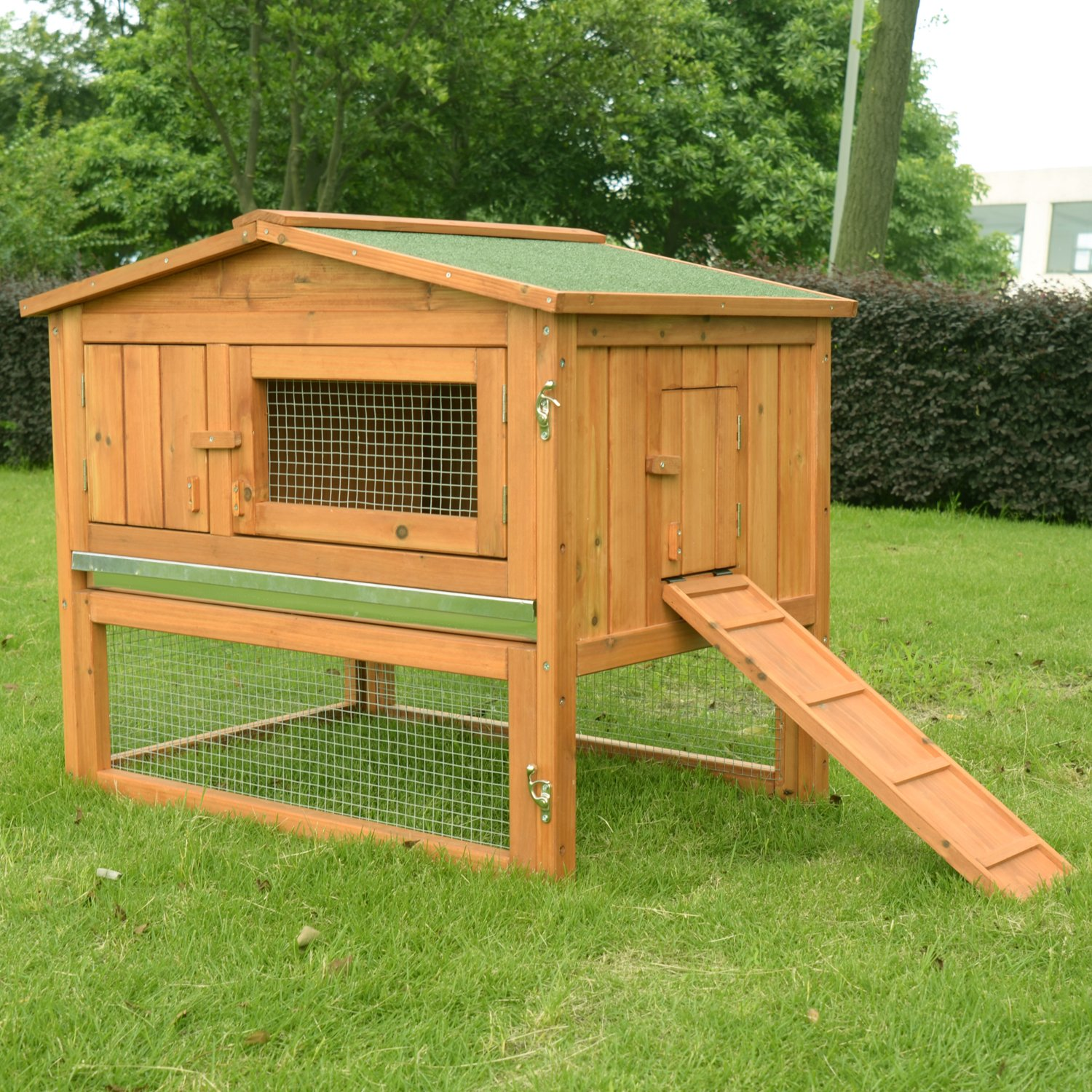 rabbit free pet hutch pawhut overstock product handmade com bunny today level shipping deluxe house brown for inch wood backyard hutches supplies sale in