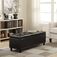 Belleze 48  Rectangular Faux Leather Linen Storage Ottoman Bench Footrest Large Space & Ottomans u0026 Storage Ottomans | Amazon.com