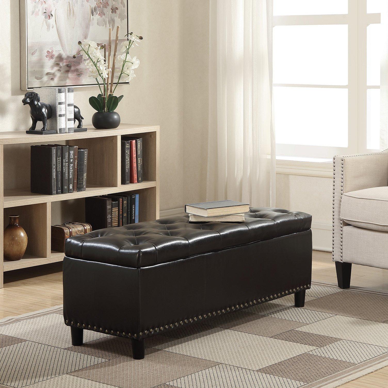 Belleze 48'' Rectangular Faux Leather Storage Ottoman Bench Footrest, Large, Brown by Belleze