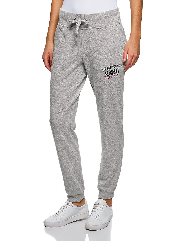 oodji Ultra Mujer Pantalones de Punto con Bordado: Amazon.es: Ropa ...