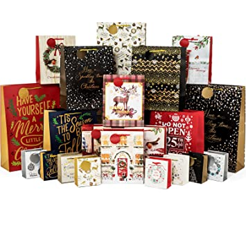 24 Count Christmas Gift Bags Bulk Set Includes 4 Jumbo 6 Large 6 Medium 8 Small for Wrapping Holiday Gifts