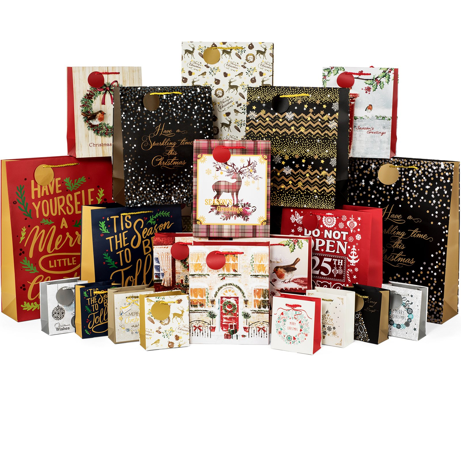 Amazon.com: Deluxe 72 Piece Christmas Holiday Gift Bag Set,12 ...