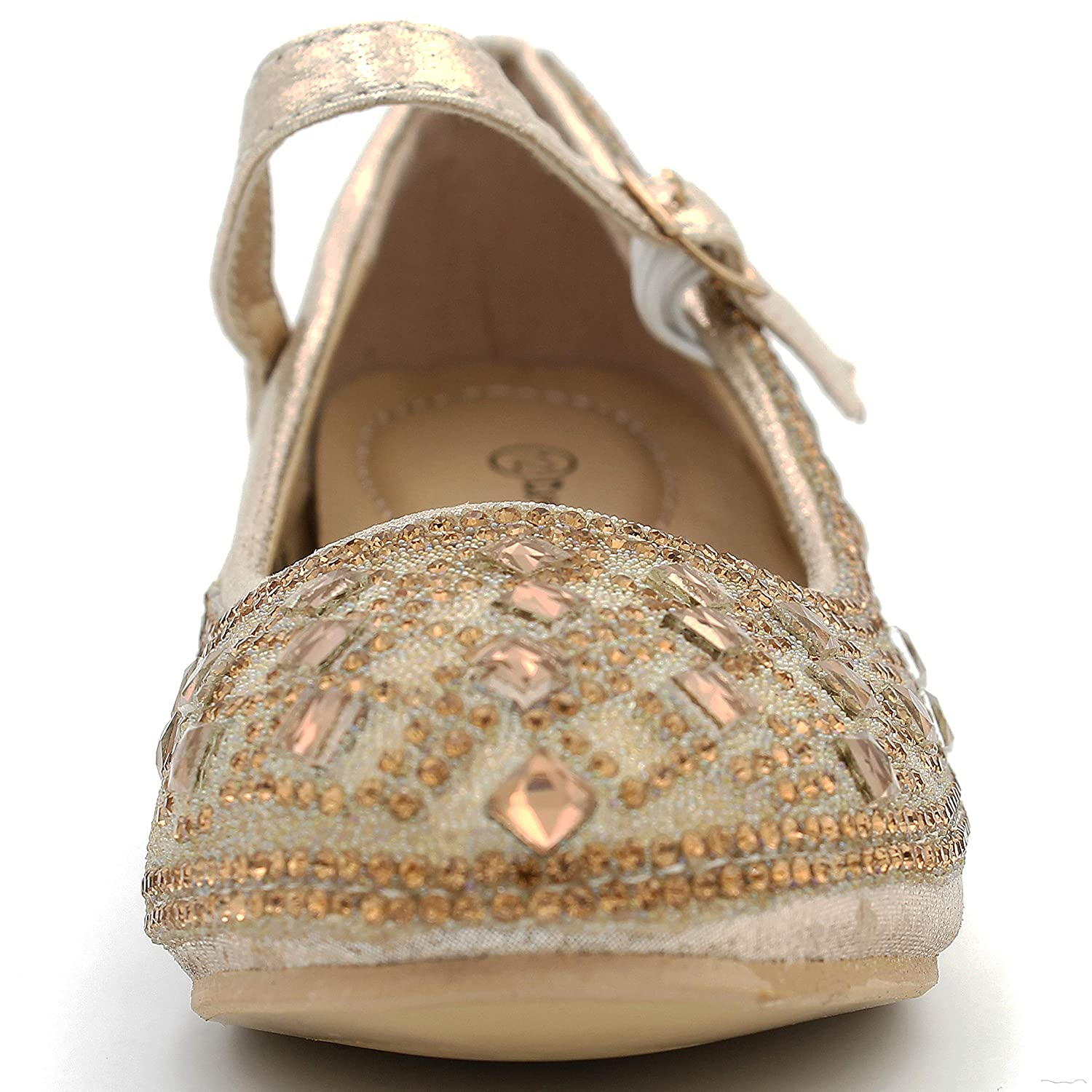 Girls Glitter Sparkling Dress Shoes Low Medium Heel Pumps Bow Mary Jane Pageant 786k
