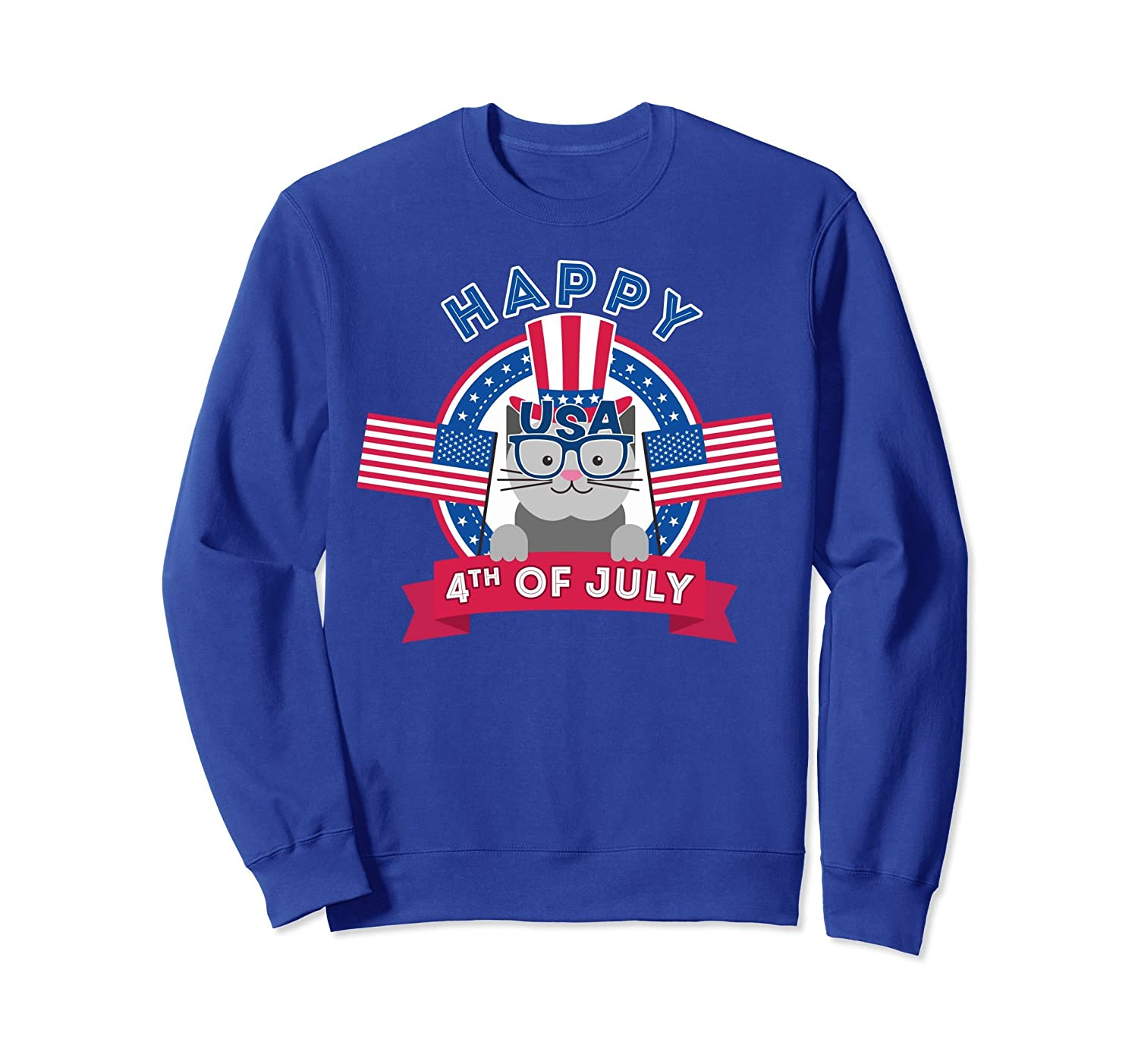 4th of July Cat Sweatshirt - Cat shirt for Kids Happy 4th!-AZP