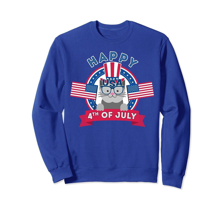 4th of July Cat Sweatshirt - Cat shirt for Kids Happy 4th!-AZP