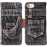 本格デニム iPhone8 / 8 Plus / 7 / 7 Plus / 6 / 6S / 6 Plus / 6S Plus ケース 手帳型 マグネット式 Teyissalia ジーンズ スタンド機能、カード収納 人気 アイフォン ケース (iPhone7 Plus / 8 Plus, ブラック)