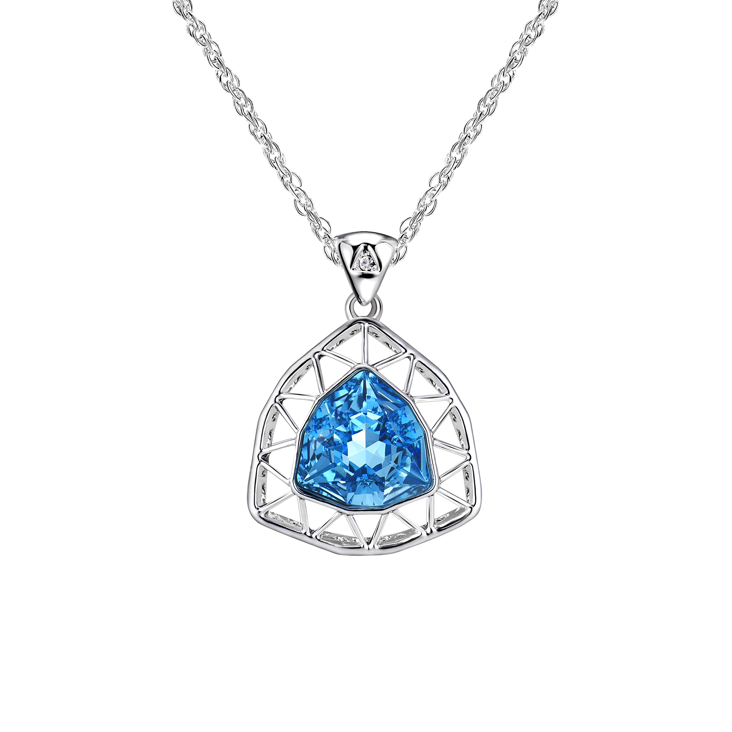Alantyer Summer Birthstone Necklace Made with Swarovski Crystal, Jewelry for Women, Best Mother's Day (Aquamarine)