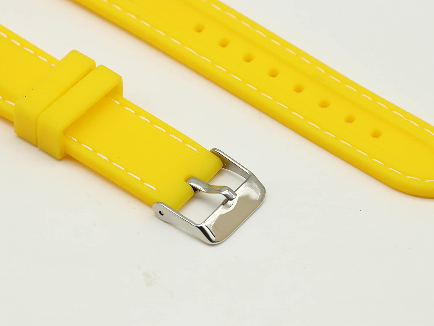 Silicon Yellow Watch Bands Replacements 18mm With White Line Stainless Steel Buckle for Smart Watches | Amazon.com
