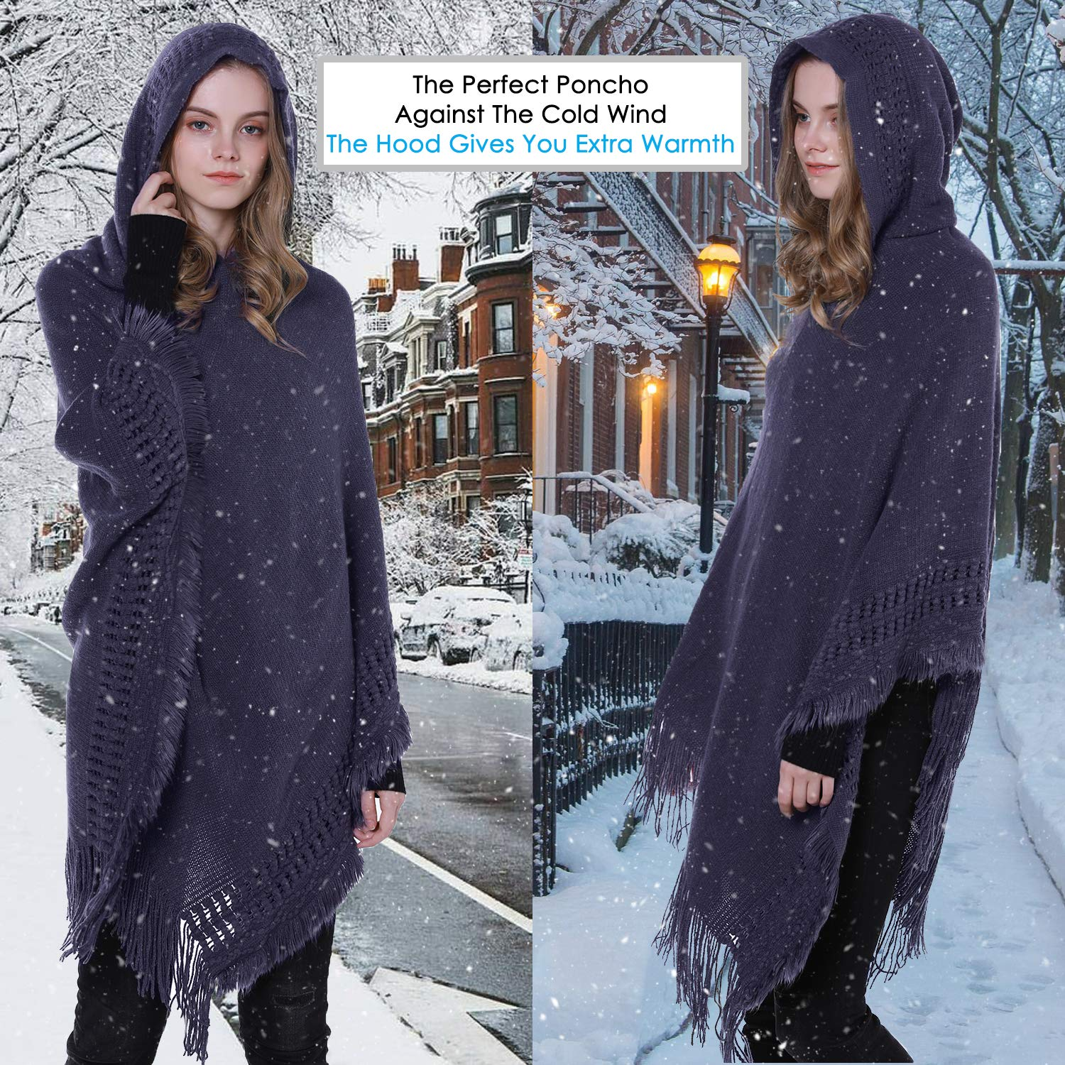 Tacobear Poncho Cape for Women Knitted Poncho Elegant Hooded Cape Blanket Wrap Scarf Poncho Sweater with Fringe for Ladies