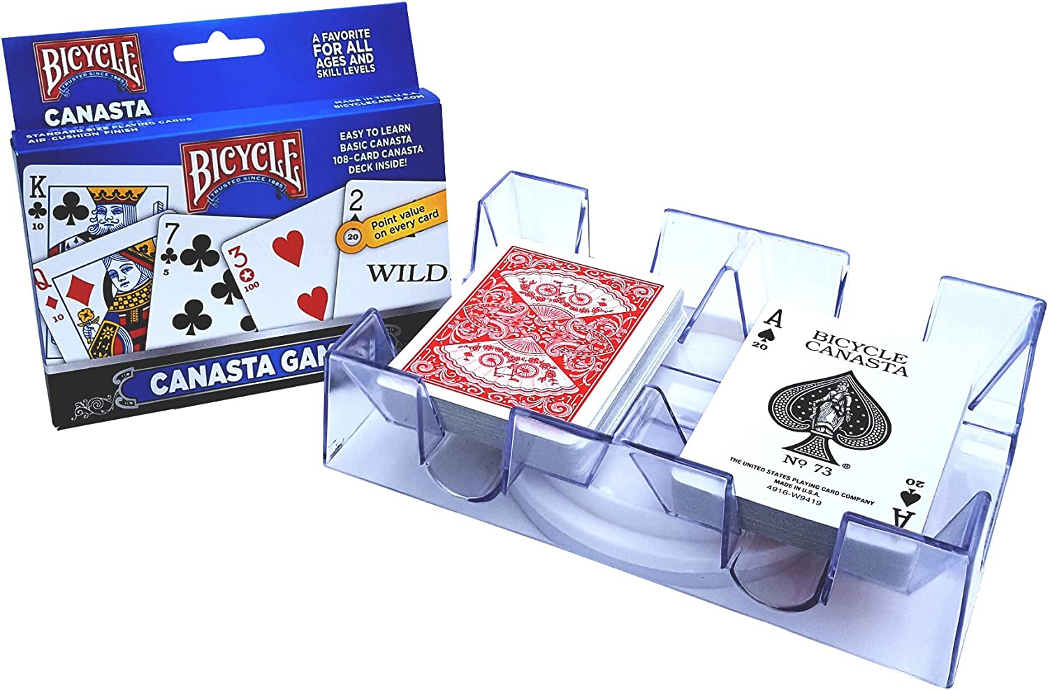 2 Deck Revolving Rotating Canasta Playing Card Tray Toy Chh New
