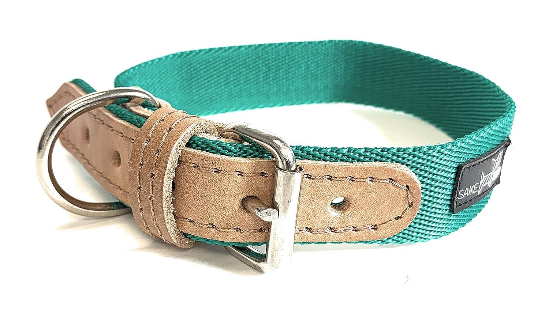 Emerald Green Medium Emerald Green Medium Sake Pet Nylon & Leather Dog Collar with Dog Tag and Fun Paw Print Design, Adjustable Collar, Emerald Green, Medium