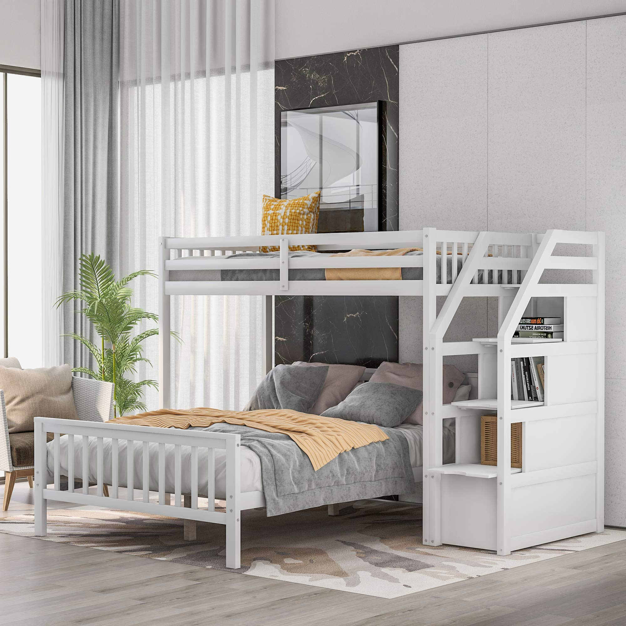 Twin Over Full Bunk Bed For Kids Wood L Shaped Twin Loft With Storage And Full Platform Bed For Kids White Buy Online In Belize At Belize Desertcart Com Productid 206868993