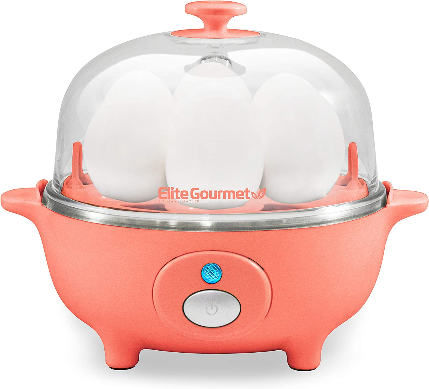 Elite Gourmet EGC-007C Easy Electric Poacher, Omelet Eggs & Soft, Medium, Hard-Boiled Egg Boiler Cooker with Auto Shut-Off and Buzzer, Measuring Cup Included, BPA Free, 7, Coral