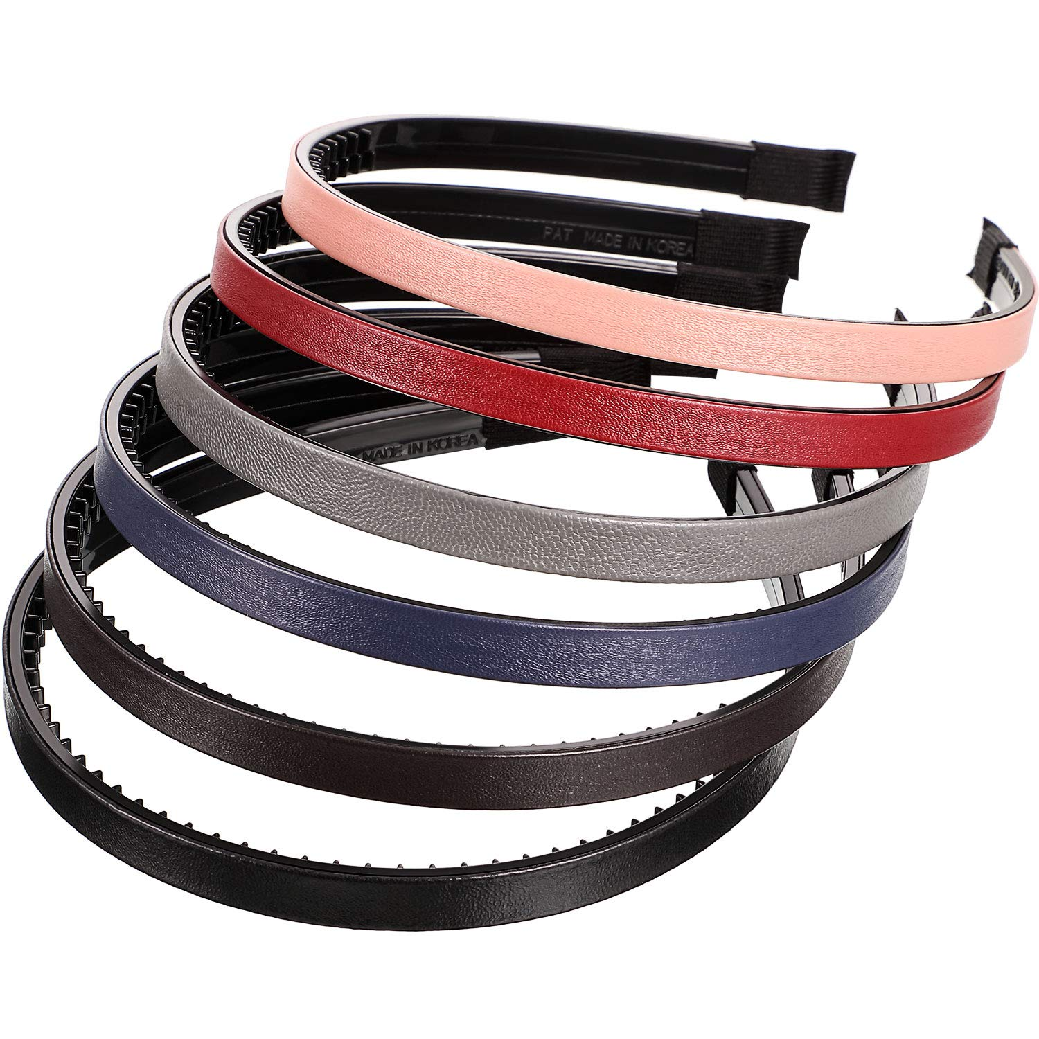 6 Pieces Skinny Leather Covered Headband Plastic Skinny Headband Hair Loop Clasp Hairbands Solid Simple Headband for Women and Girls (Lustrous Pink, Rose Red, Blue, Gold, Silver and Grey) : Beauty