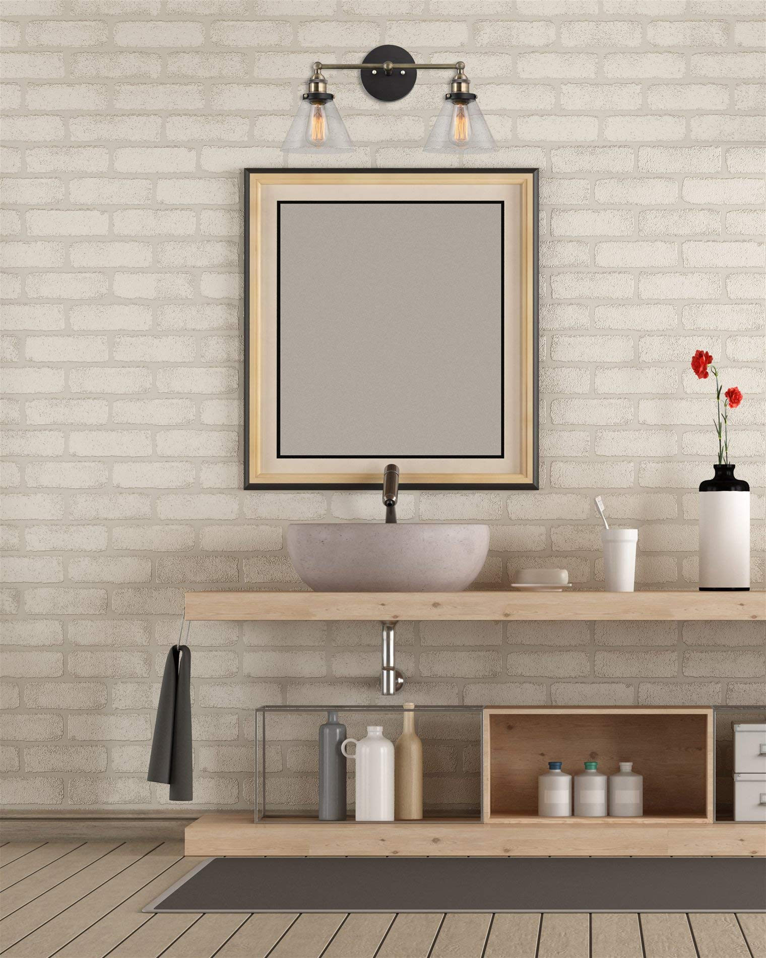 Kira Home Indie 19'' Mid-Century Industrial Edison 2-Light Bathroom/Vanity Wall Sconce + Clear Glass Shades, Antique Brass Accents, Brushed Matte Black Finish by Kira Home (Image #4)