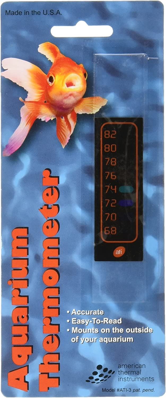 Amer Thermal Instruments Liquid Crystal Vertical Aquarium Thermometer, Small