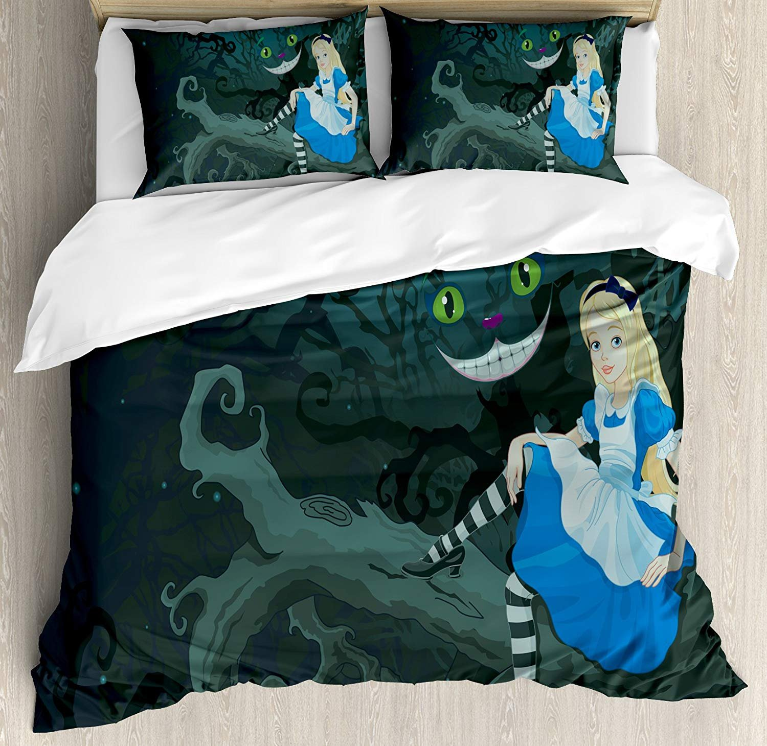 Alice in Wonderland Duvet Cover Set, 4pcs Twin Bedding Sets Soft Microfiber Bedspread Comforter Cover and Pillow Shams, Alice Sitting on Branch with Chescire Cat in Darkness Striped Cartoon Love