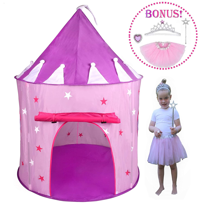 Hide N Side 5pc Princess Tent for Girls Play Tent Princess Castle w Glow in The Dark Stars. Bonus Princess Dress up Tutu Costume Set Tent for Kids Children Princess Pink Play House Pop Up Tent