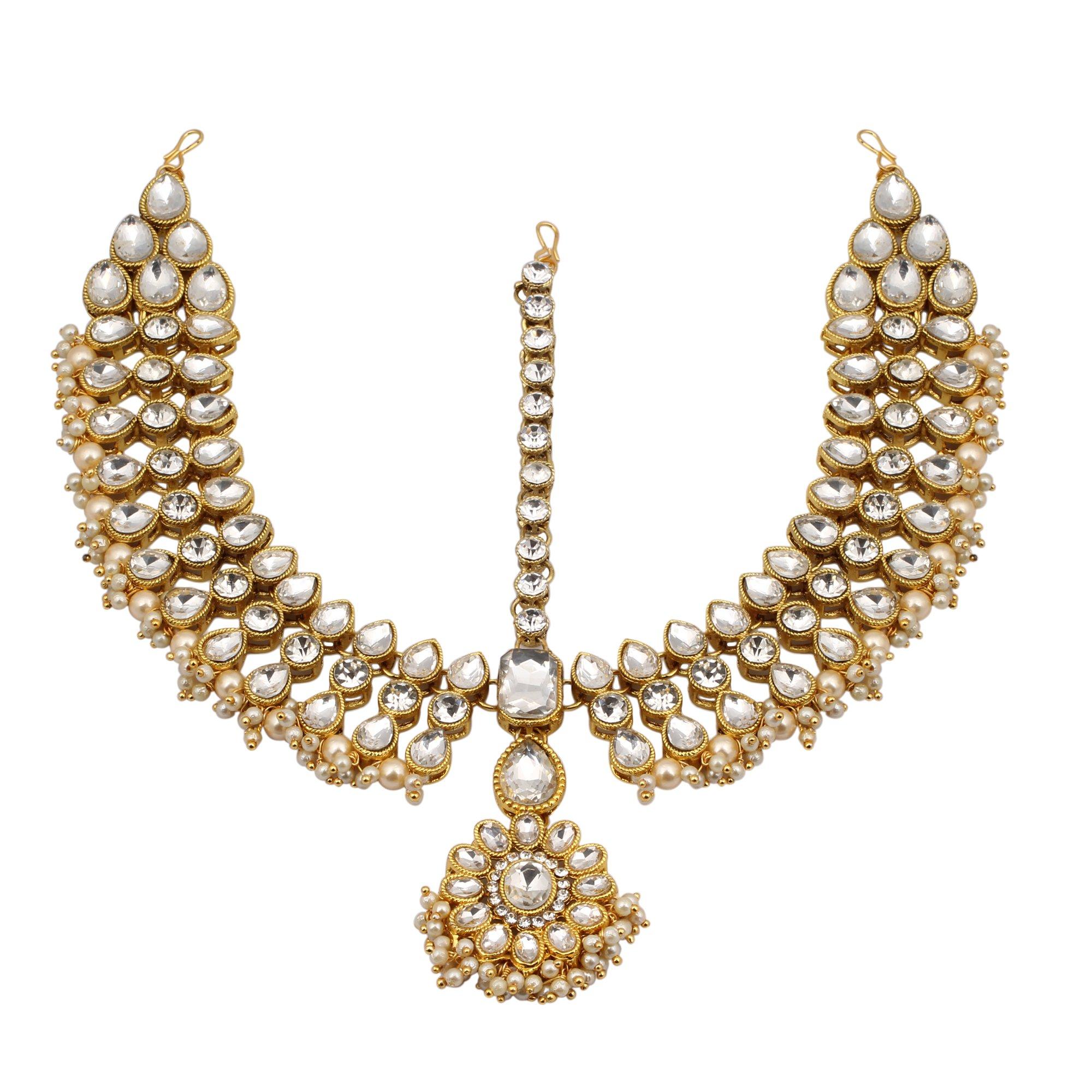 Jwellmart Indian Ethnic CZ Kundan Faux Pearl Partywear Matha Patti Maang tikka for Women and Girls (Gold)