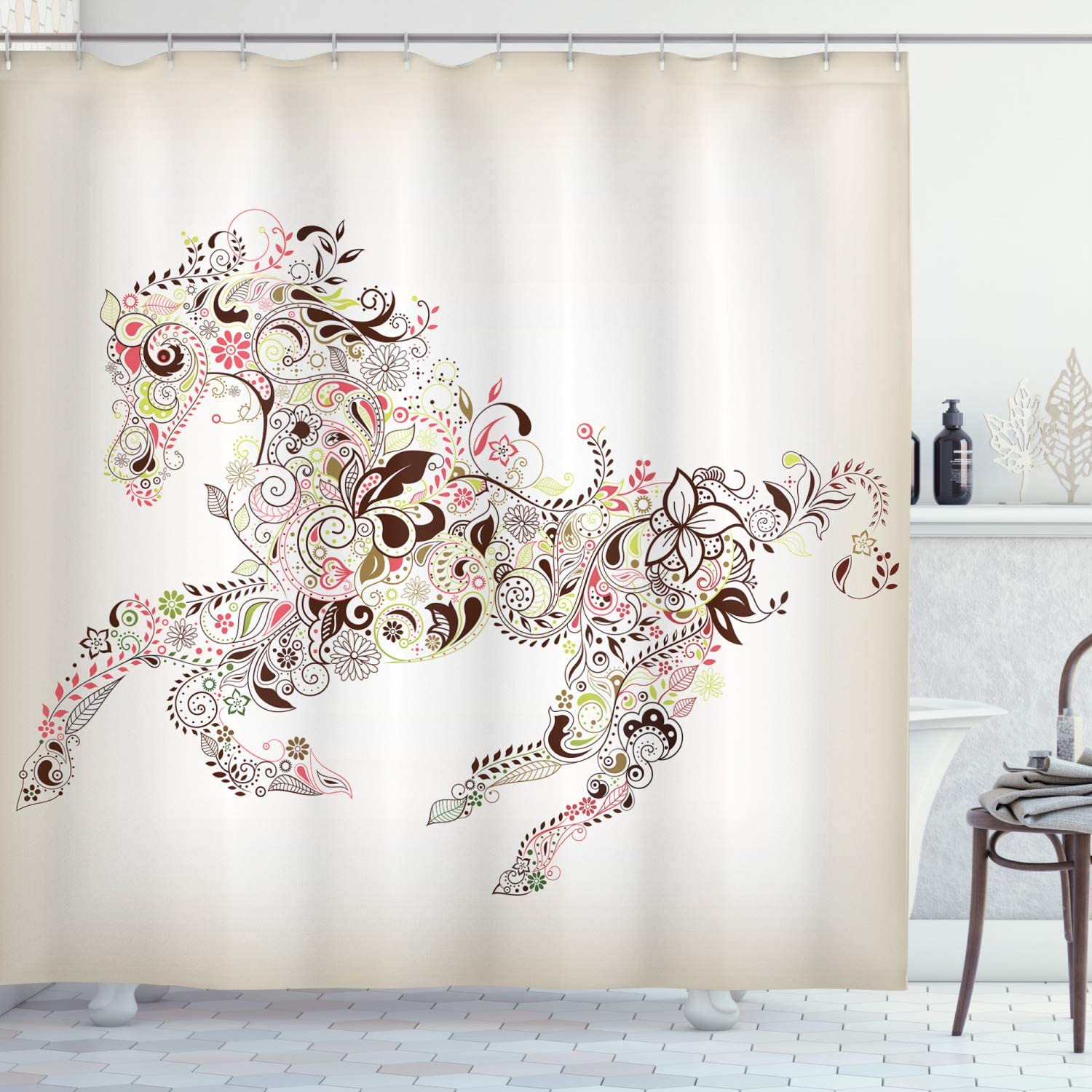 """Ambesonne Abstract Shower Curtain, Abstract Floral Horse Flower Leaf Ornamental Paisley Pattern Swirl Artwork, Cloth Fabric Bathroom Decor Set with Hooks, 70"""" Long, CreamBrown"""