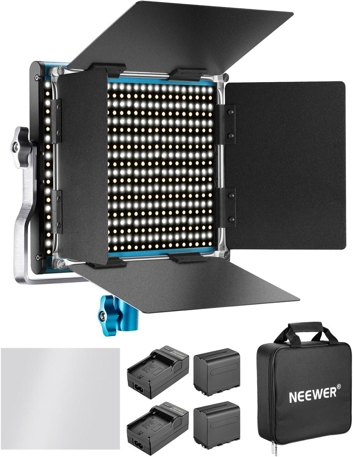 Neewer Regulable Bi-Color 660 LED Luz de Vídeo con Recargable 6600MAH Batería y Cargador Kit de Iluminación: 3200-5600K,CRI 96+ con U Soporte y Barndoor para Cámara Foto Estudio Video Filmación