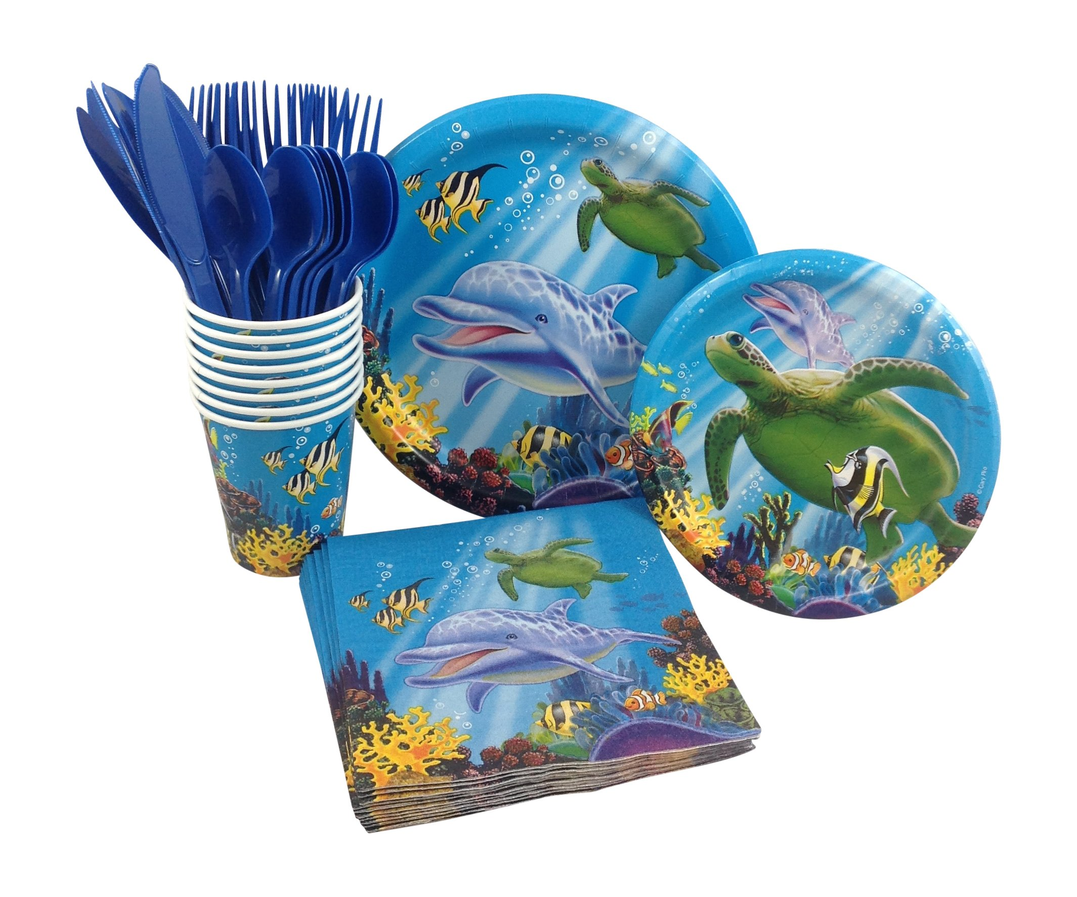 Ocean Animals Birthday Party Supply Pack! Bundle Includes Paper Plates, Napkins, Cups & Silverware for 8 Guests