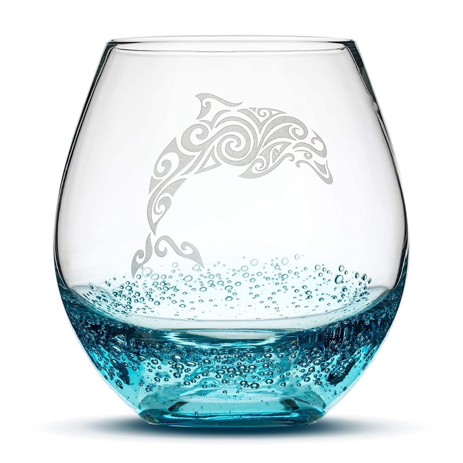 Integrity Bottles Dolphin Stemless Wine Glass, Bubbly Turquoise, Handblown, Tribal Design, Hand Etched Gifts, Sand Carved
