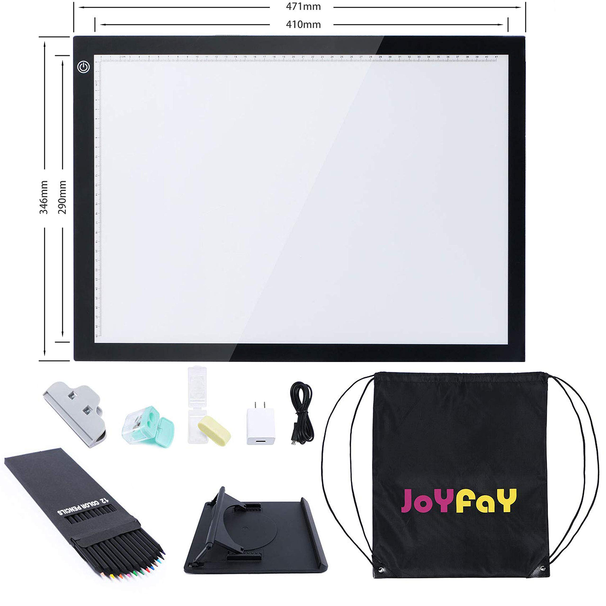 A3 Tracing Light Box Copy Board Pad Ultra-Thin Portable LED Tracer w/Pad Stand USB Power Cable w/Adapter Dimmable Brightness LED Artcraft for Drawing Painting Sketching by Joyfay by Joyfay