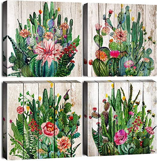 Amazon Com Watercolor Cactus Home Decor Bathroom Canvas Prints