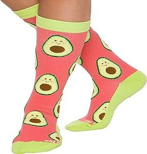 LISH Avocado Print Wide Calf Compression Socks - Graduated 15-25 mmHg Knee High Food Themed Plus Size Support Stockings (Green, L/XL)